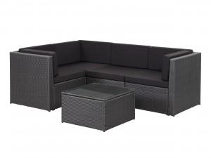 balkongmöbler, soffa i konstrotting med dynor och bord