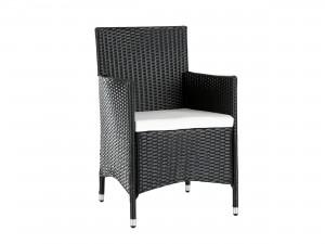 balkongstol i svart konstrotting med dyna