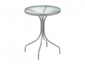 cafébord i stål med skiva i härdat glas