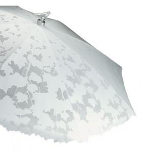 vitt parasoll med fågel