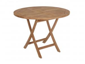 klappbord i teak med rund bordsskiva