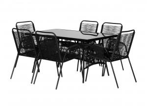svart balkongbord eller utebord med 6 st svarta stolar